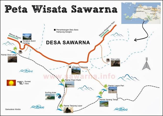 Peta Tempat Wisata Sawarna Banten